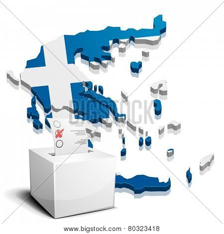 detailed illustration of a ballotbox in front of a map of greece, eps10 vector