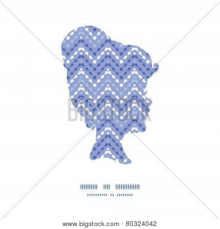 Vector purple drops chevron girl portrait silhouette pattern frame