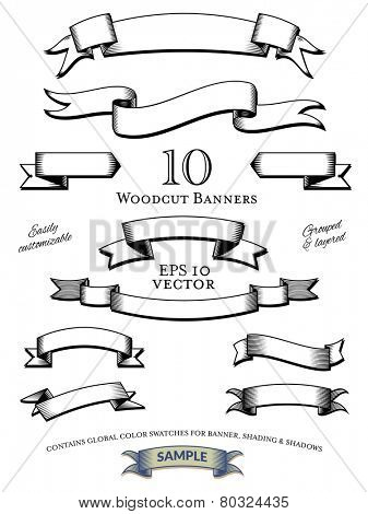 Woodcut Banners Vector Set. Collection of woodcut engraved banners vector illustration, easily customizable with global color swatches. Objects grouped and layered.