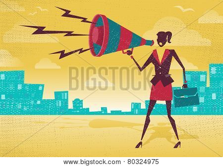 Businesswoman With Megaphone.