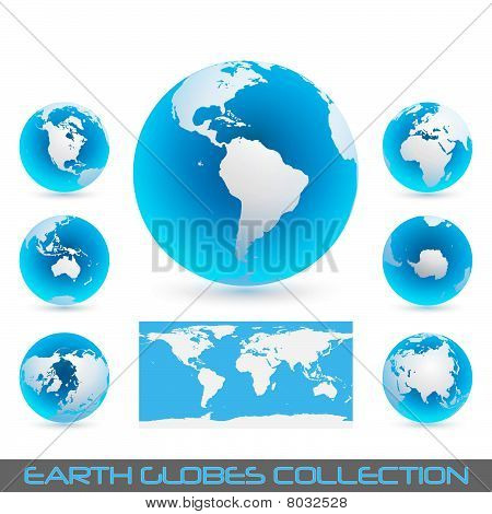 Earth Globes Blue - Light