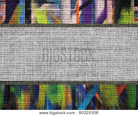 Burlap Fabric Canvas Textured with Paint Brush Stroke Background