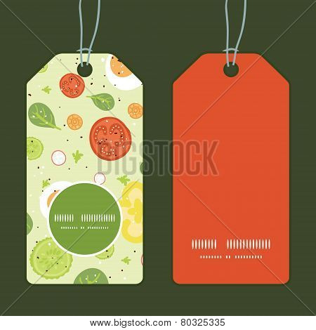 Vector fresh salad vertical round frame pattern tags set