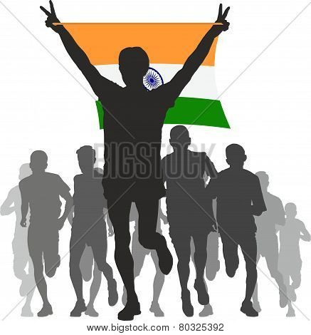 Winner with the India flag at the finish