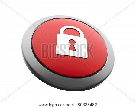 Red Security Icon Isometry