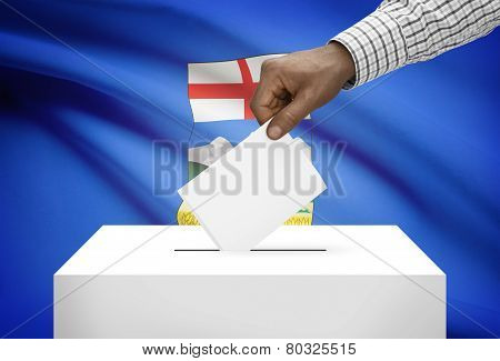 Voting Concept - Ballot Box With Canadian Province Flag On Background - Alberta