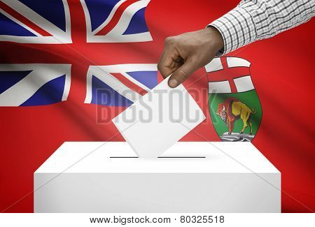 Voting Concept - Ballot Box With Canadian Province Flag On Background - Manitoba
