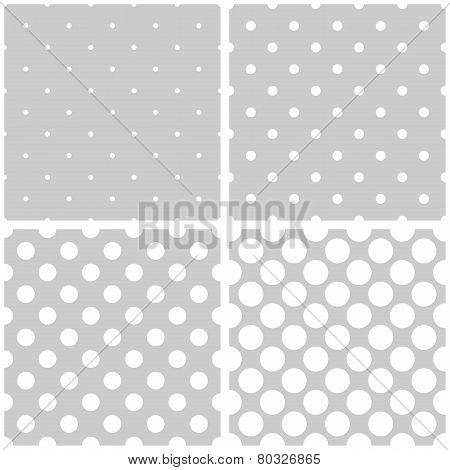 Seamless vector white and grey pattern or background set with big and small polka dots