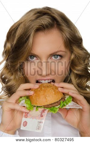 Young Woman Biting A Burger From Rur