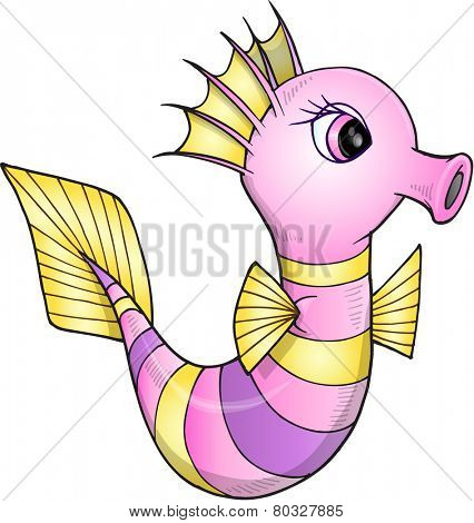 Pretty Sea Horse Vector Illustration Art