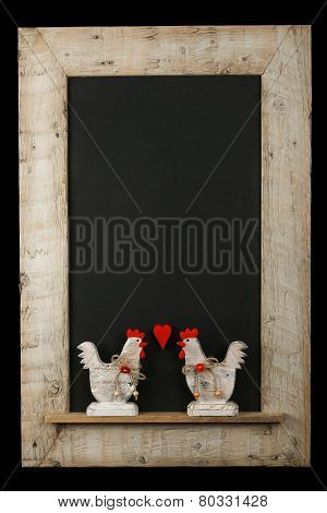 Vintage Valentines Love Roosters Chalkboard Reclaimed Wood Frame Isolated On Black