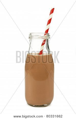 Chocolate milk in bottle isolated