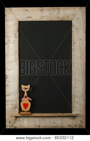 Vintage Valentines Love Cat Chalkboard Reclaimed Wood Frame Isolated On Black