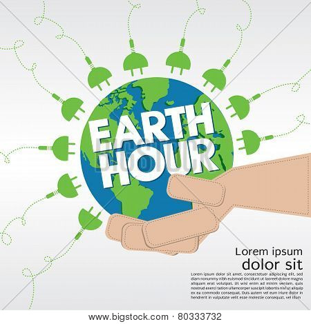 Earth Hour Conceptual Illustration.