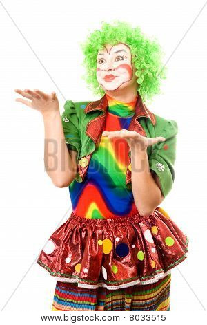 Portrait Of Expressive Female Clown
