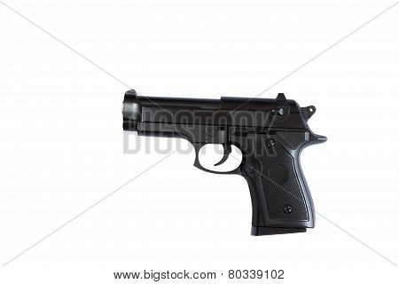 Black gun on a white background