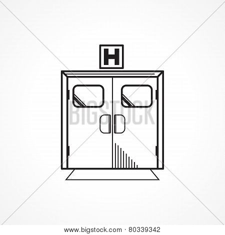Black line vector icon for hospital entrance door