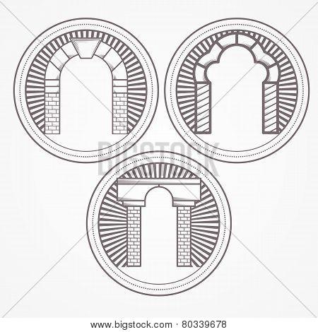 Vector illustration of three types brick arch icon