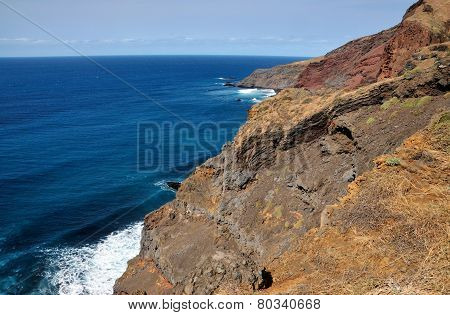 Cliff Erodes Into Ocean