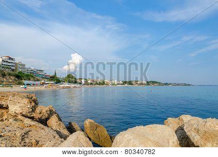 Greece, Nea Kallikratia, Views Of The Coast From The Old Pier