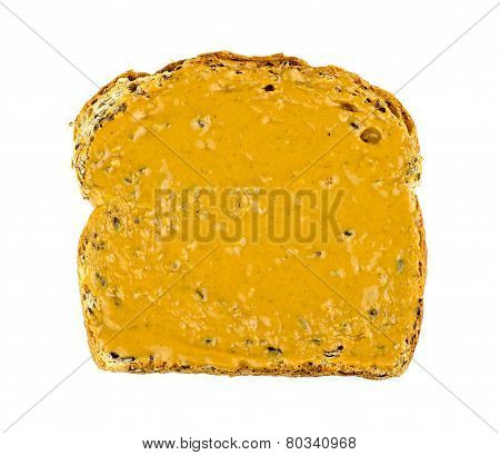 Aerial Of Isolated Toast With Creamy Peanut Butter