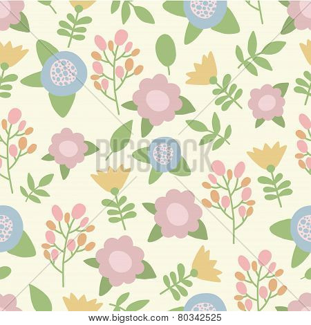 Cute hand drawn summer pastel colors flowers seamless nature pattern