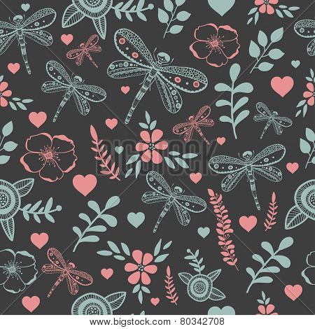 Vector dragonfly and flowers nature seamless pattern. Hand drawing colorful illustration