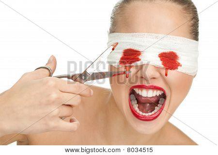 Screaming Blind Terrified Woman