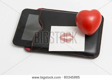 Red Heart With Tablet On White Background
