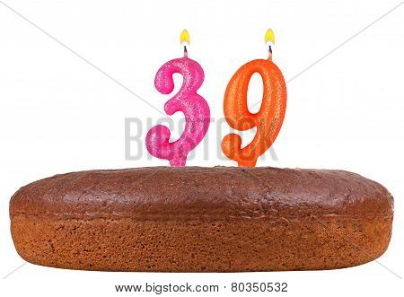Birthday Cake With Candles Number 39 Isolated