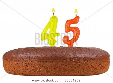 Birthday Cake With Candles Number 45 Isolated