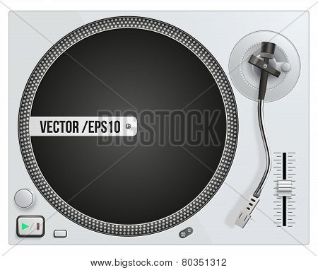 Vector illustration of modern white turntable