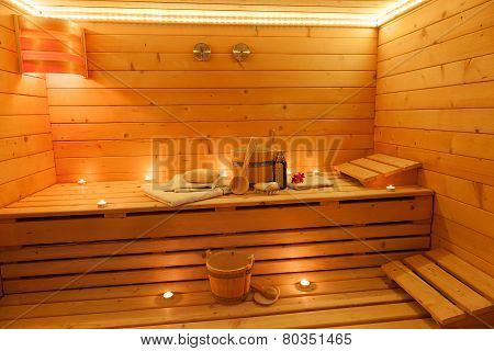 Interior of a finnish Sauna