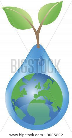 The Earth and waterdrop