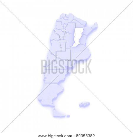 Map of Santa Fe. Argentina. 3d