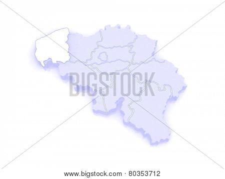 Map of West Flanders. Belgium. 3d
