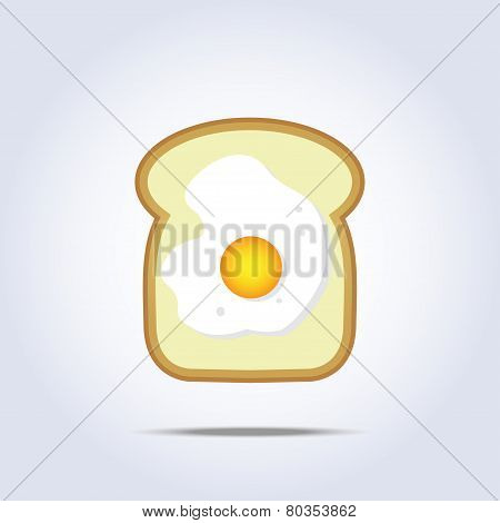 White bread toast icon with egg