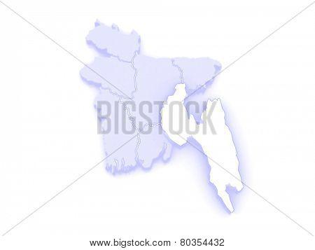 Map of Chittagong. Bangladesh. 3d