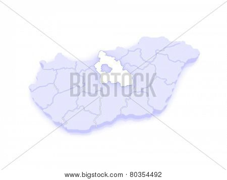 Map of Pest. Hungary. 3d