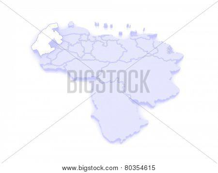 Map of Zulia. Venezuela. 3d