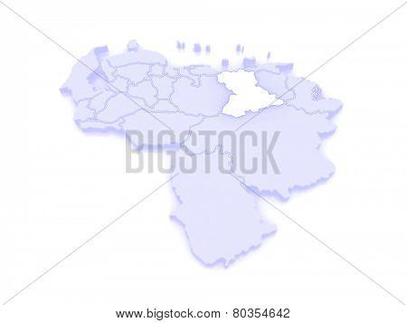 Map of Anzoategui. Venezuela. 3d