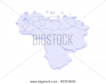 Map of Miranda. Venezuela. 3d