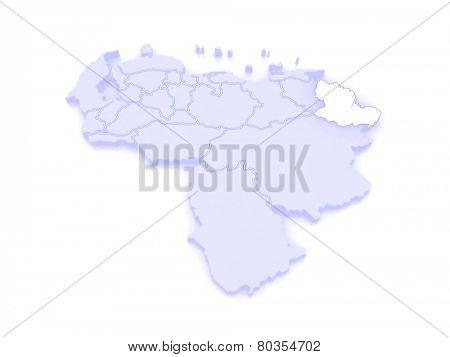 Map of Delta Amacuro. Venezuela. 3d