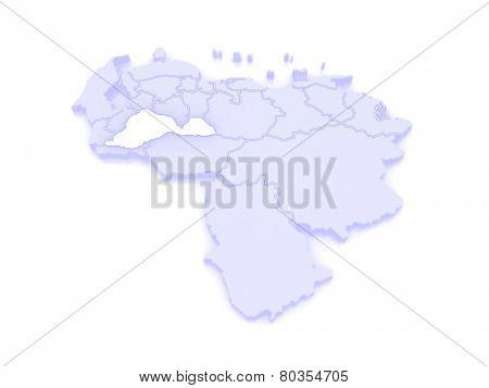 Map of Barinas. Venezuela. 3d