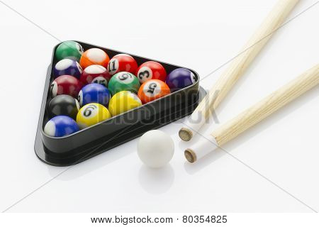 Snooker Balls With Cues