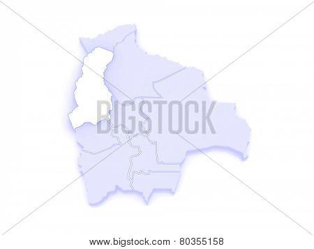Map of La Paz. Bolivia. 3d