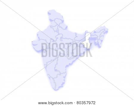 Map of West Bengal. India. 3d