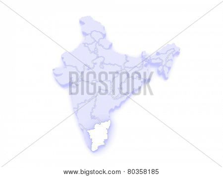 Map of Tamil Nadu. India. 3d