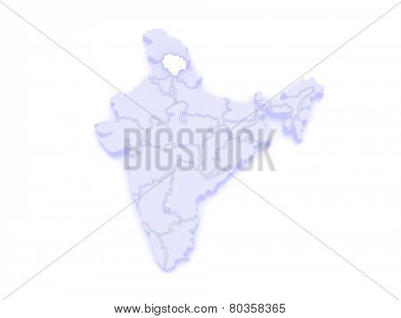 Map of Himachal Pradesh. India. 3d