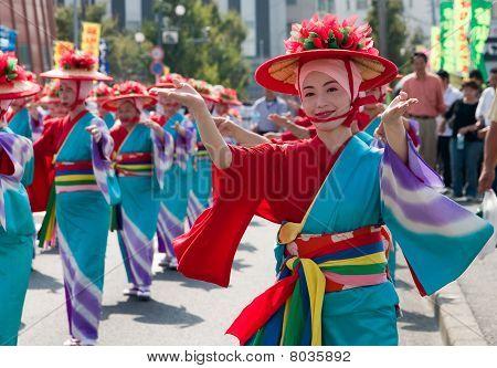 Japanese Festival Dancer in Kimono